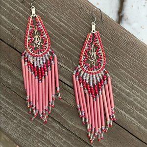 BOGO‼️ Native American Pink Long Beaded Earrings